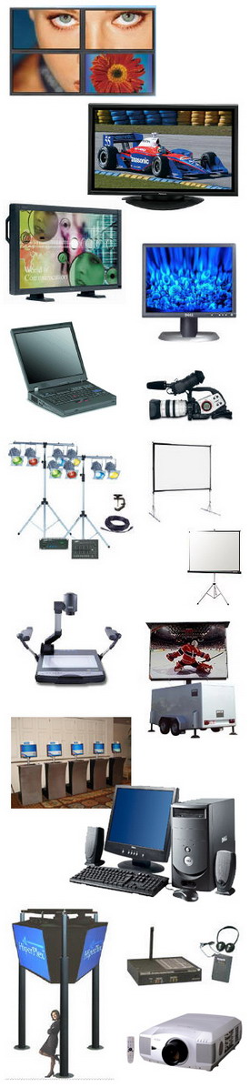 New York City Technology and Video Equipment Rentals carries leading brands of Audio, Visual, Projectors, Screens, iPads, Laptop, Desktop Computers, Plasma Displays, Monitors